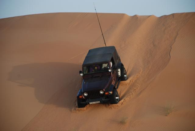 Abu Dhabi Blacksheep: Kiwi desending a dune