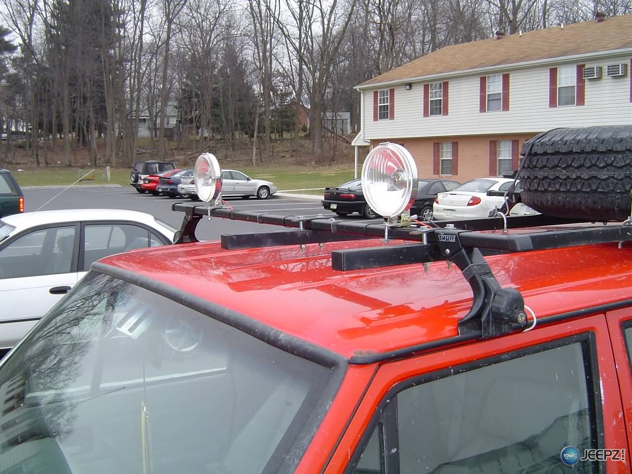 Off Road Driving Lights On Xj Roof Rack
