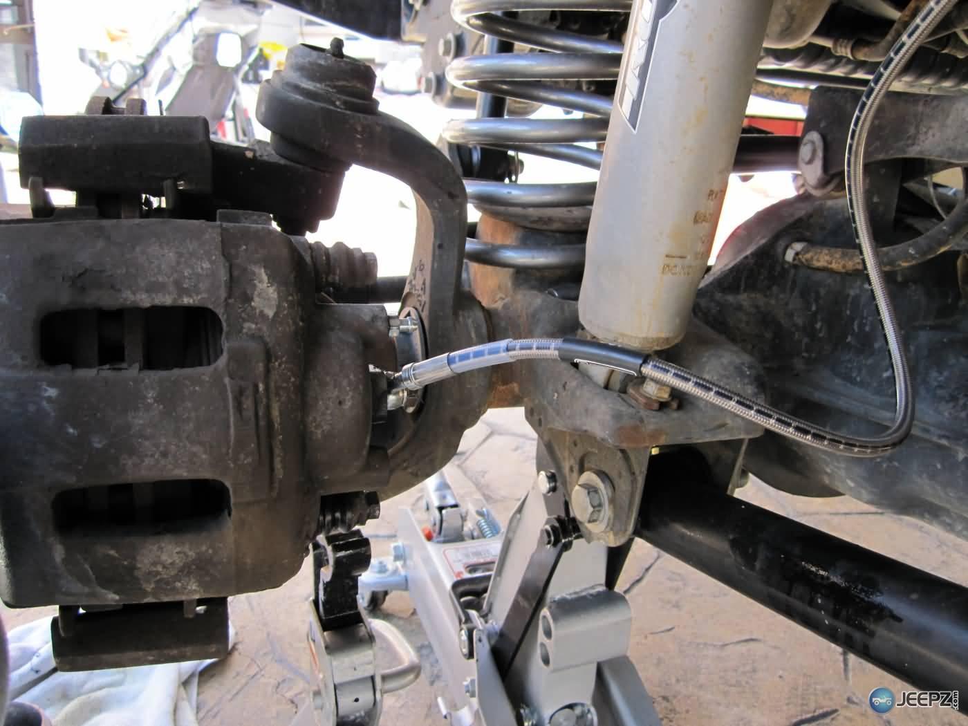 Installing extended Jeep brake hoses
