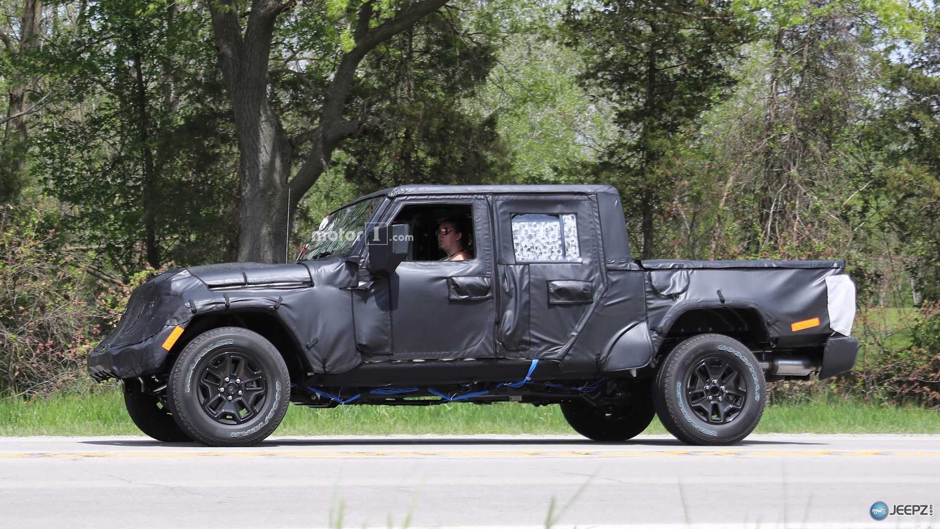 more photos of the upcoming 2019 jeep wrangler pickup. Black Bedroom Furniture Sets. Home Design Ideas