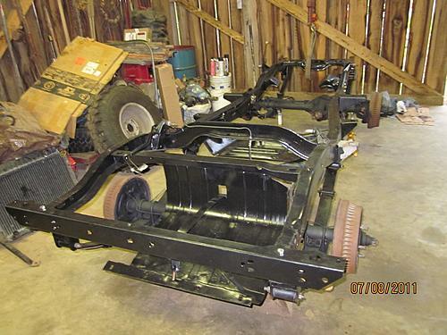 76 CJ5 Restoration-frame-axles-back-under.jpg