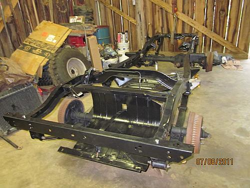 76 CJ5 Restoration-frame-axles-back-under.jpg