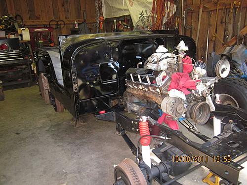 76 CJ5 Restoration-frame-engine-tranny-body-returned.jpg