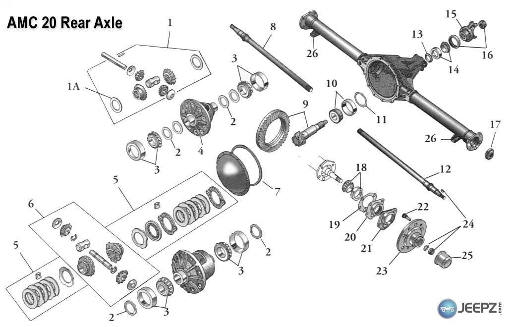 Rebuilt Jeep Differential further 36859 Rear Bearing Shot further Toro 20031 2400000012409999992004 Lawn Mower Parts C 121776 127291 127684 together with Chevy Cavalier Front Suspension Diagram in addition P 0900c152800855f3. on amc rear axle diagram