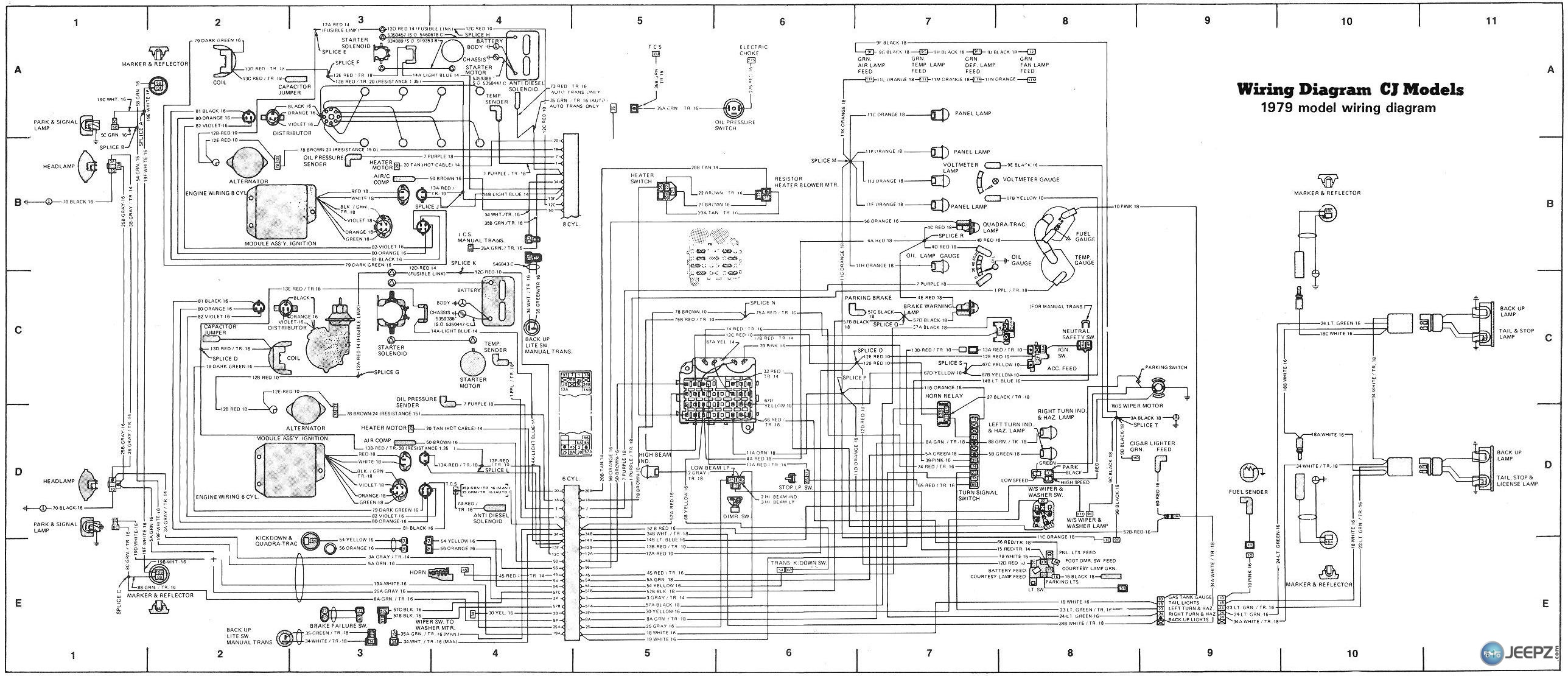 2748d1243285147 cj headlight wiring colors cj wiring diagram 1979 1993 jeep cherokee wiring diagram jeep ignition wiring diagrams 1993 jeep wrangler wiring diagram at gsmx.co