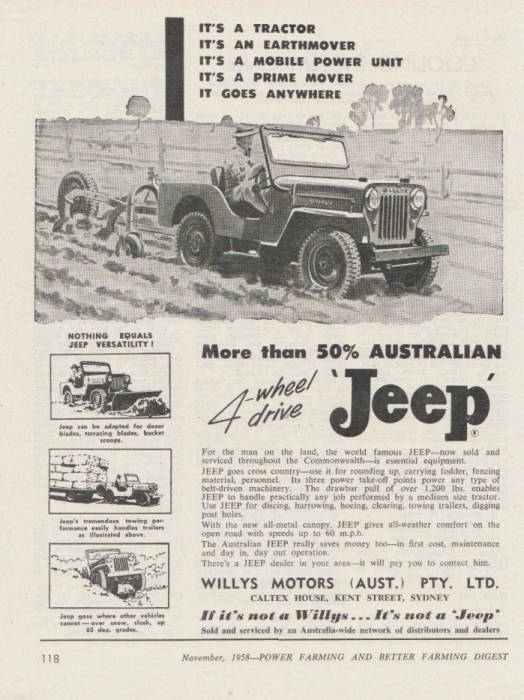 1958 WILLYS Advertisement