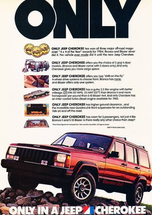 Jeep Grand Cherokee Lift Kit >> 1985 Jeep Cherokee - Only - Classic Vintage Advertisement ...