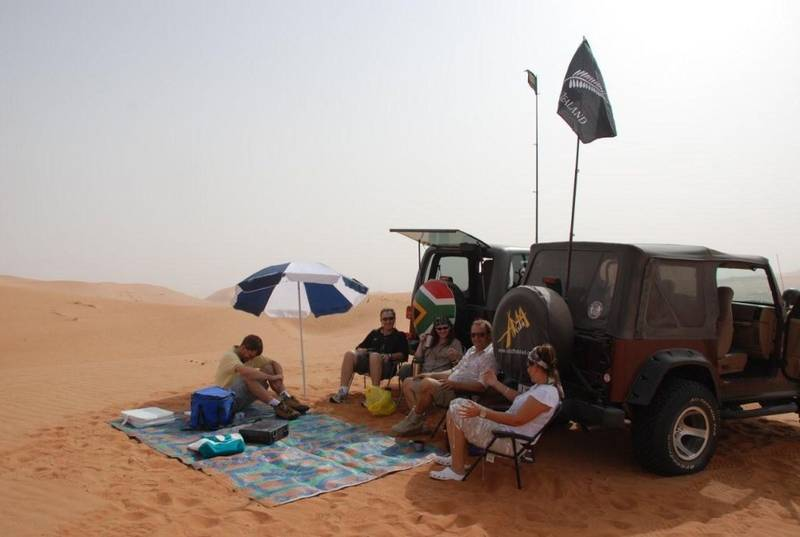 Abu Dhabi morning coffee in the desert