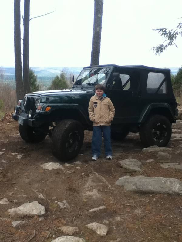 My Son with the Jeep at the lookout